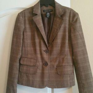 #214 New York & Co Brown Plaid Suit Jacket Size 6